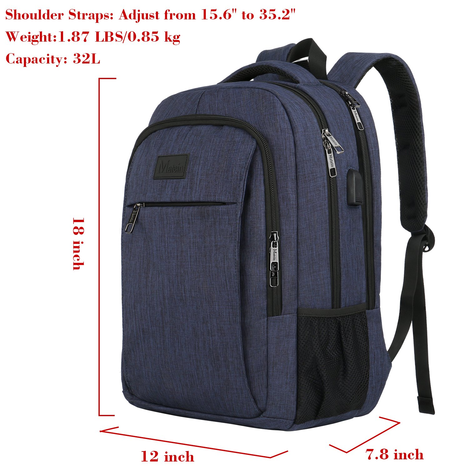 Travel Laptop Backpack,Business Anti Theft Slim Durable Laptops Backpack  with USB Charging Port,Water Resistant College School Computer Bag for Women    Men ... 53dfdd379e