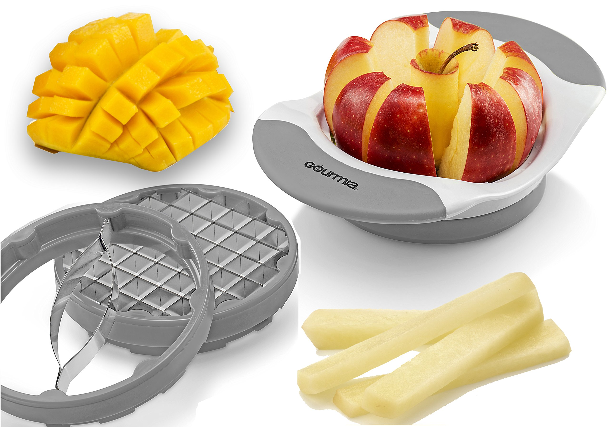 Gourmia 3 In 1 Handle Push Cutter, Mango, Apple Slicer & Corer With Bonus French Fries Blade, 3 Stainless Steel And Interchangeable Blades, Durable BPA free food safe material (Gray)