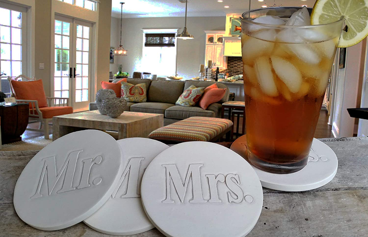 House Warming Drink Coasters and Mrs set Handmade by McCarter Coasters for Home Wedding Registry Hot or Cold Beverages 4.38 Off-White Mr - Absorbent 4pc