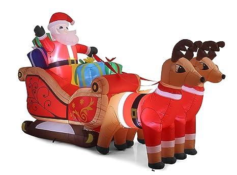 Amazon.com: 10 ft seligh de Papá Noel hinchable con renos ...