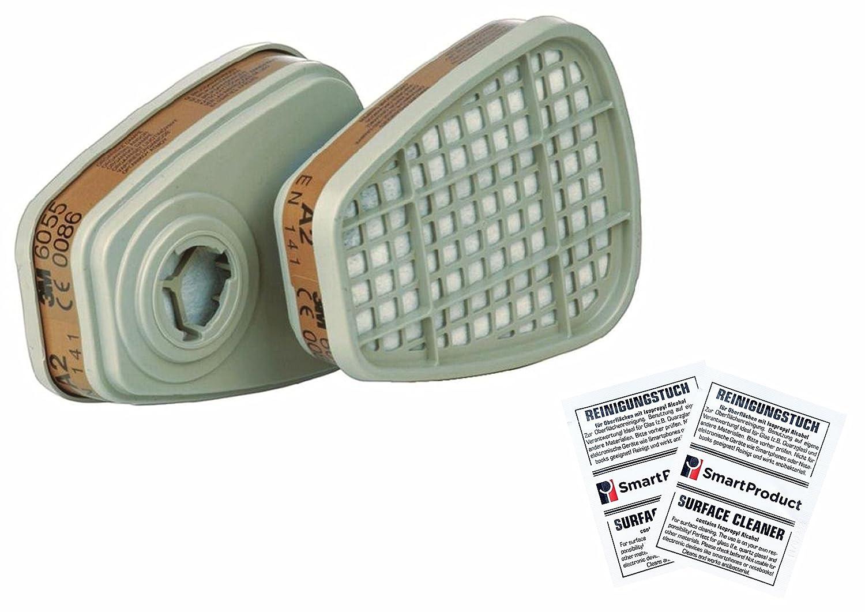 4 Pi/éces // 2 Paire Filtre Cartouche 3M 6055 A2 Vapeurs Organiques pour Masque 3M Bouchons doreilles SmartProduct