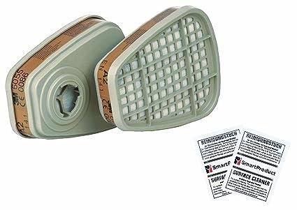 3M Filtros 6055 A2 para Mascarillas - Filtro de Vapores Orgánicos (2 Unidades / 1