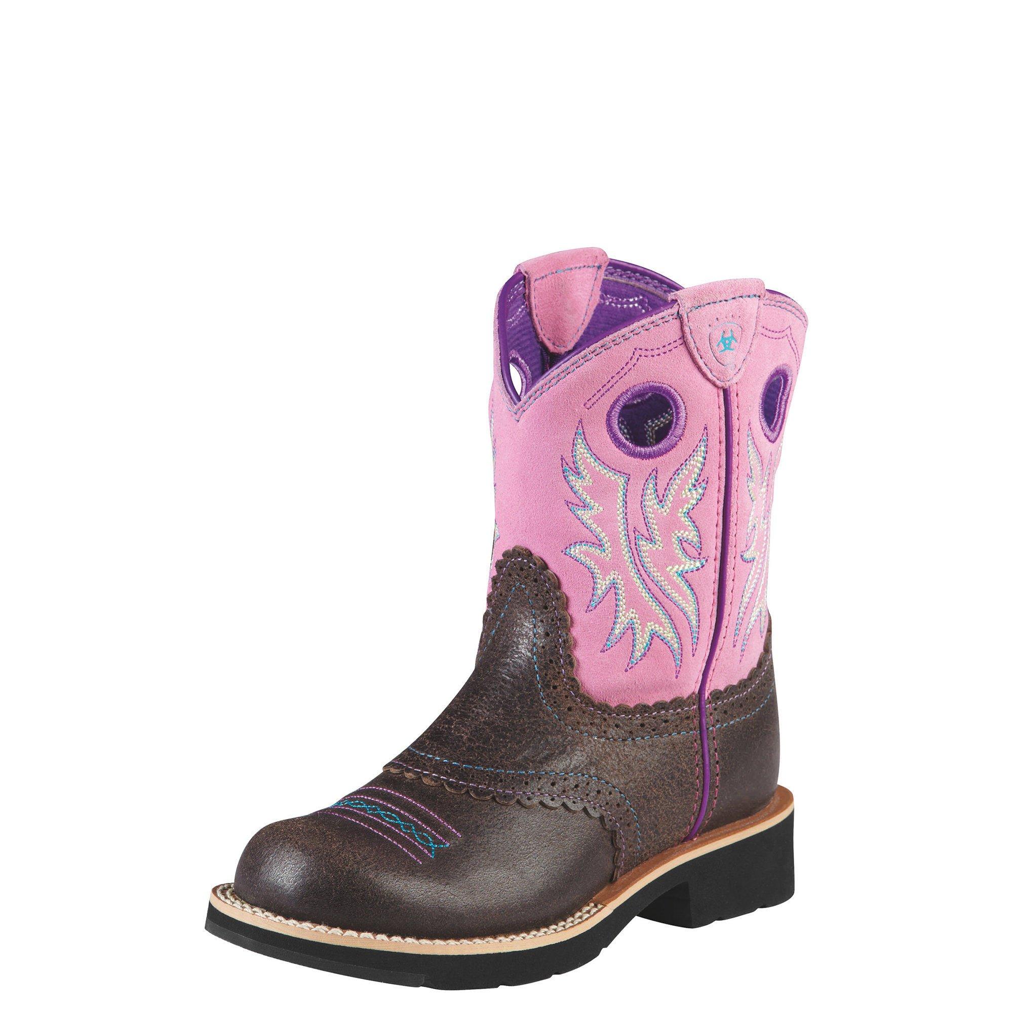 Kids' Fatbaby Cowgirl Western Boot (Toddler/Little Kid/Big Kid),Roughed Chocolate/Bubblegum,6 M US Big Kid