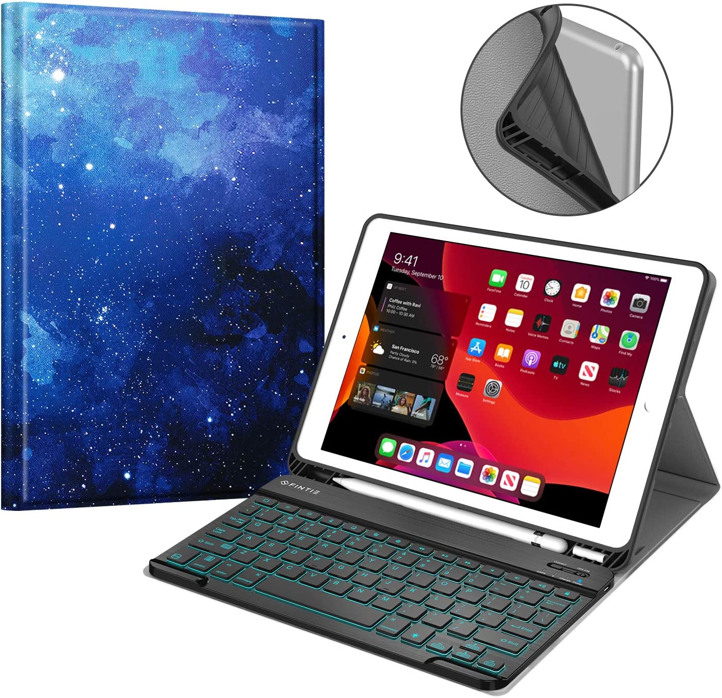 Fintie Keyboard Case for New iPad 7th Generation 10.2 Inch 2019, Soft TPU Back Cover with Pencil Holder, Magnetically Detachable Wireless Bluetooth Keyboard, 7 Color Backlight, Starry Sky