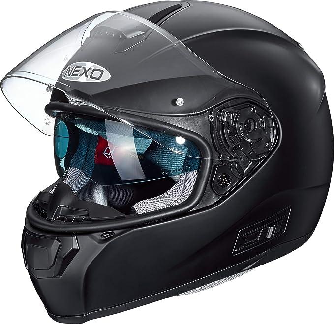 Nexo Integralhelm Motorradhelm Helm Motorrad Mopedhelm Comfort Integralhelm Mit Sonnenblende 1 500 G Klares Kratzfestes Visier Belüftung Ratschenverschluss Matt Schwarz Xs Xl Bekleidung