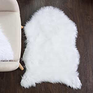 Sweet Home Collection Faux Fur Area Rug Sheepskin Decorative Chair Sofa Couch Throw 3' x 2' Foot Soft and Luxurious Cruelty Free Eco Friendly Shag Non Skid Premium Floor Cover, White