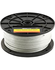 Forney 70452 Wire Rope, Vinyl Coated Aircraft Cable, 250-Feet by 1/8-Inch Through 3/16-Inch