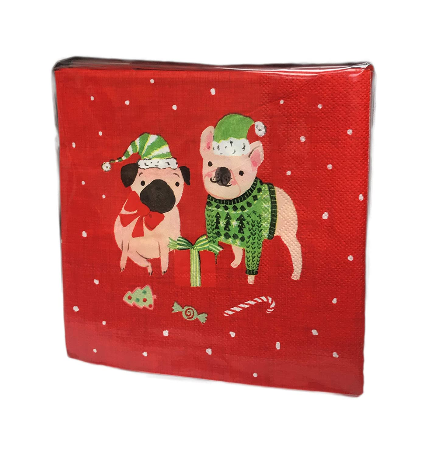 Festive Christmas Holiday Pug Dogs 40 Pack 3 Ply Large Novelty Paper Cocktail Beverage Holiday Drink Party Napkins