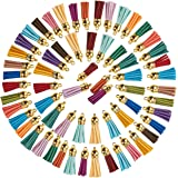 Juvale Leather Tassel Keychain - 100-Piece Faux Leather Suede Tassel Charm, Multi-Color, 20 Assorted Colors (1.5 Inches)