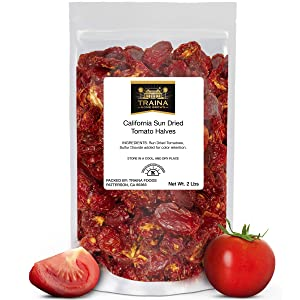 Traina Home Grown California Sun Dried Tomato Halves - Non GMO, Gluten Free, Kosher Certified, Packed in Resealable Bag (2 lbs)
