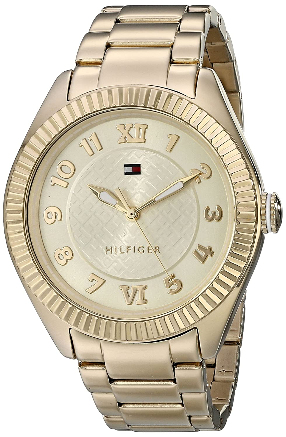 Amazon.com: Tommy Hilfiger Womens 1781345 Casual Sport Gold-Plated Coin Edge Bezel Watch: Tommy Hilfiger: Watches
