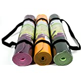 """Eco Friendly Two Layer TPE Premium Yoga Mat with Carry Strap by YogiMall, Free of PVC and Other Toxic Chemicals, Non-Slip, Extra Long 72"""",Thick 6mm, Light Weight 2.4 Lbs, Perfect for Yogis On-The-Go!"""