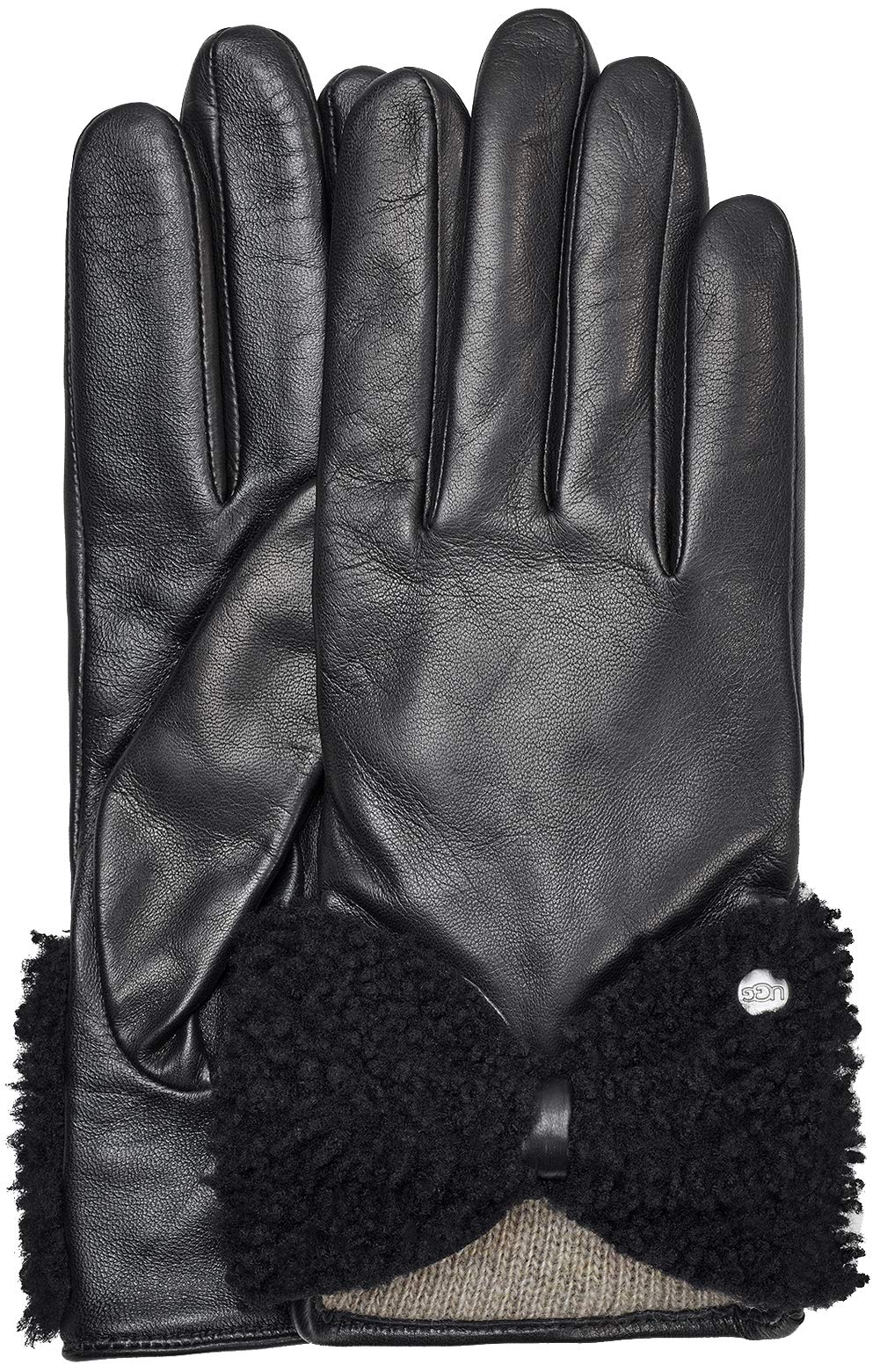 UGG Women's Tech Leather Gloves with Sheepskin Bow Black LG