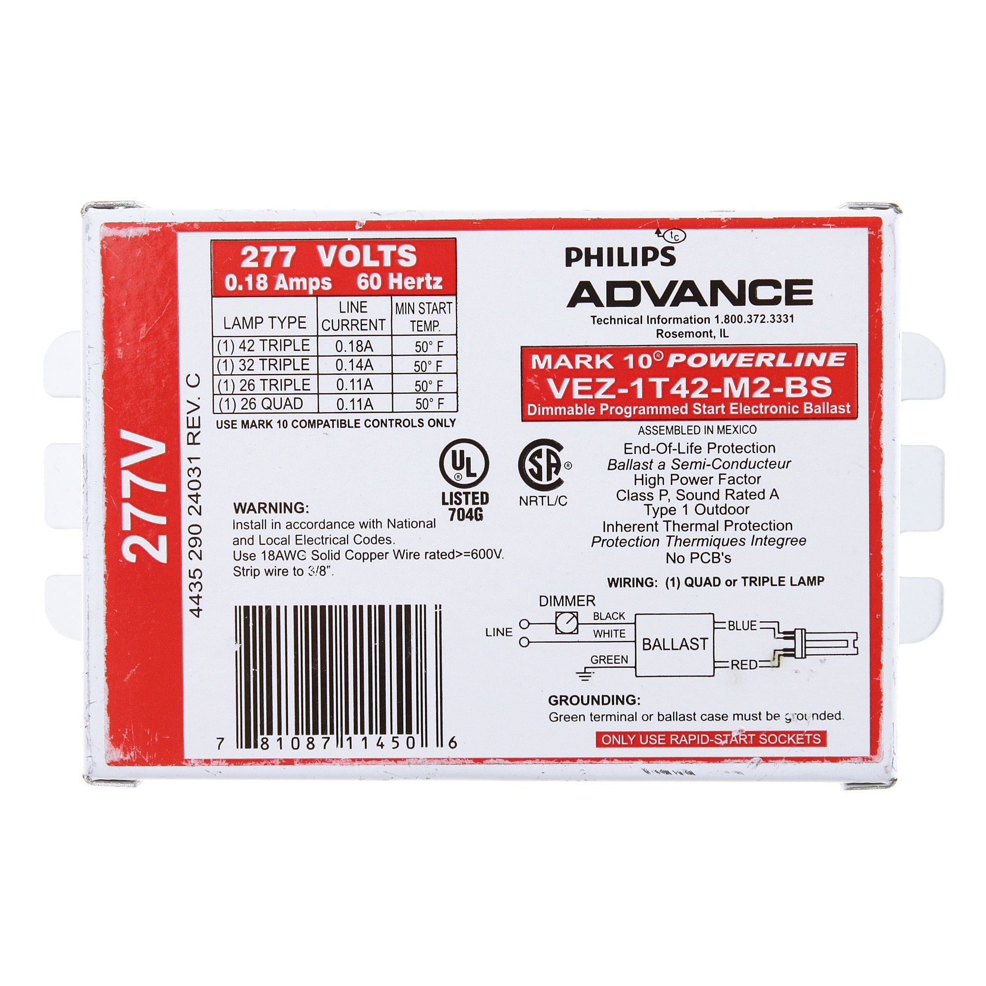 Philips Advance VEZ-1T42-M2-BS Mark 10 Powerline Dimmable Programmed Ballast