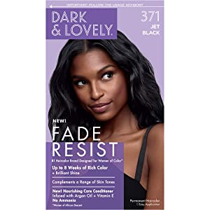 Permanent Hair Color by Dark and Lovely Fade Resist I Up to 100% Gray Coverage Hair Dye I Jet Black 371 I SoftSheen-Carson I Packaging May Vary