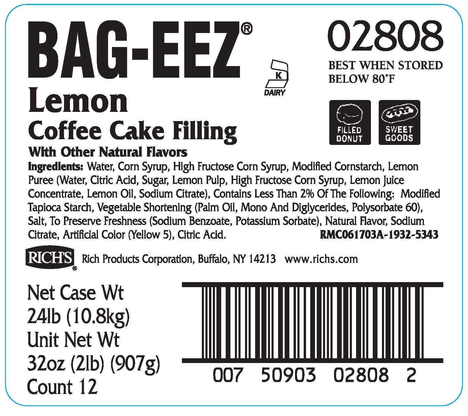 Rich's JW Allen Lemon Coffee Cake Filling Bag-Eez, 12 Pack, 2 lb Bags by Rich's (Image #2)
