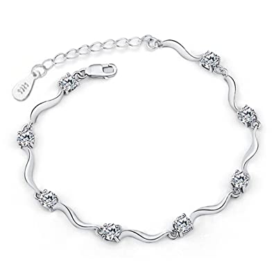 Private Twinkle 925 Sterling Silver Bracelet made with Shiny White Zirconia for Women Girls Q4Gwy0