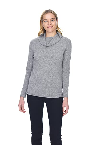 State Cashmere Women's Cowl Neck Top Sweater 100% Pure Cashmere Long Sleeve Relaxed Fit Pullover