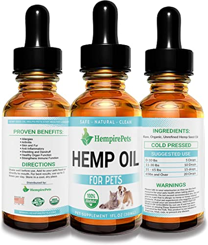 Hemp Oil for Dogs and Cats 100 Organic Natural Calming Drops – Anxiety Support – Hip and Joint Health – Pain Relief Stress Reducer for Pets, 1 Bottle
