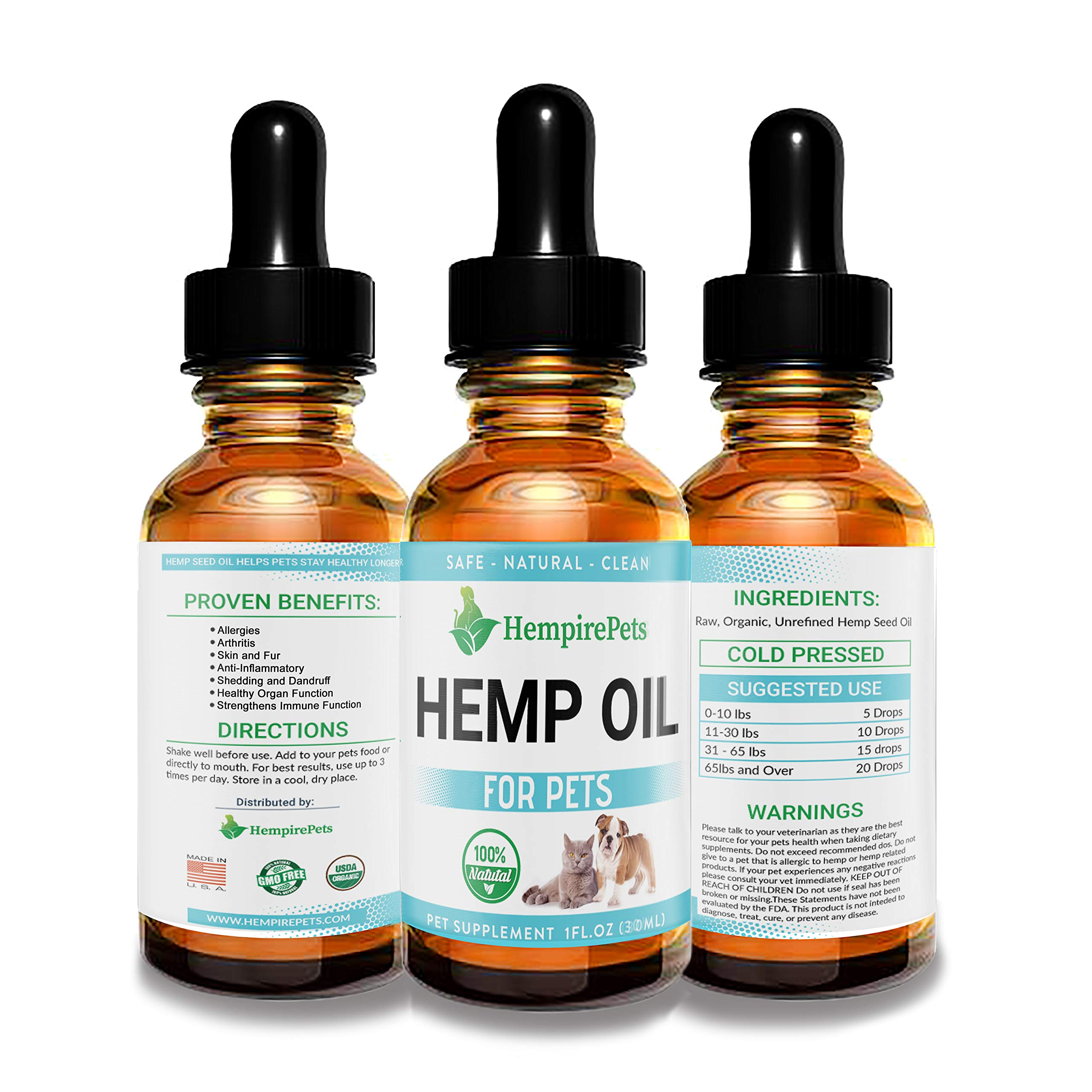 Hemp Oil for Dogs and Cats - 100 % Organic Natural Calming Drops - Anxiety Support - Hip and Joint Health - Pain Relief Stress Reducer for Pets - Omega 3 & 6 by CHEMPIST