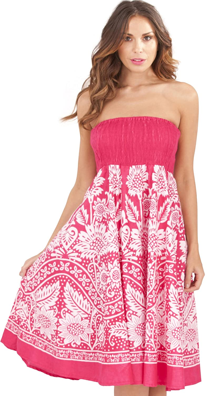 Ladies 100% Cotton Paisley & Dotted Print 2 in 1 Bandeau Summer Dress/Maxi Skirt, Pink Dannii Matthews d756