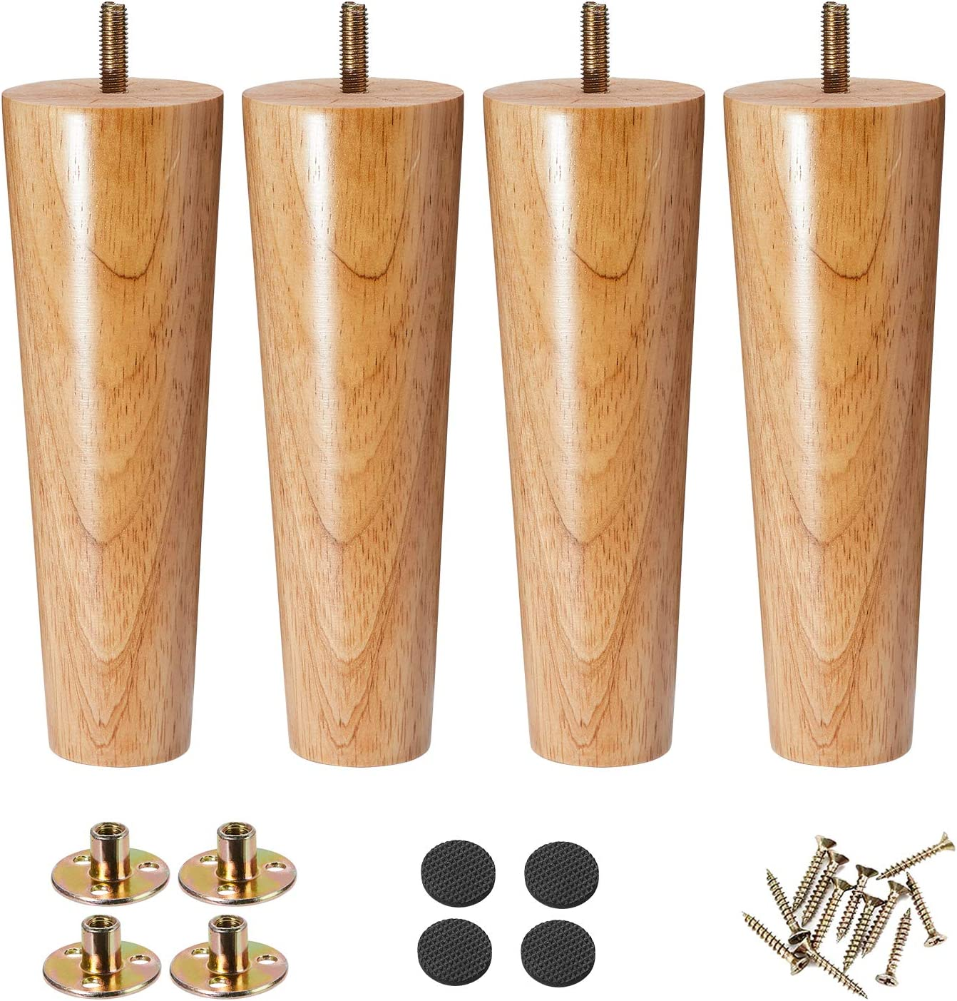 Furniture Legs 8 Inches, Tapered Sofa Legs, Wood Replacement Legs for Mid Century Style Couch, Ottoman, Dresser, Cabinet, Pack of 4 (8inch, Straight)