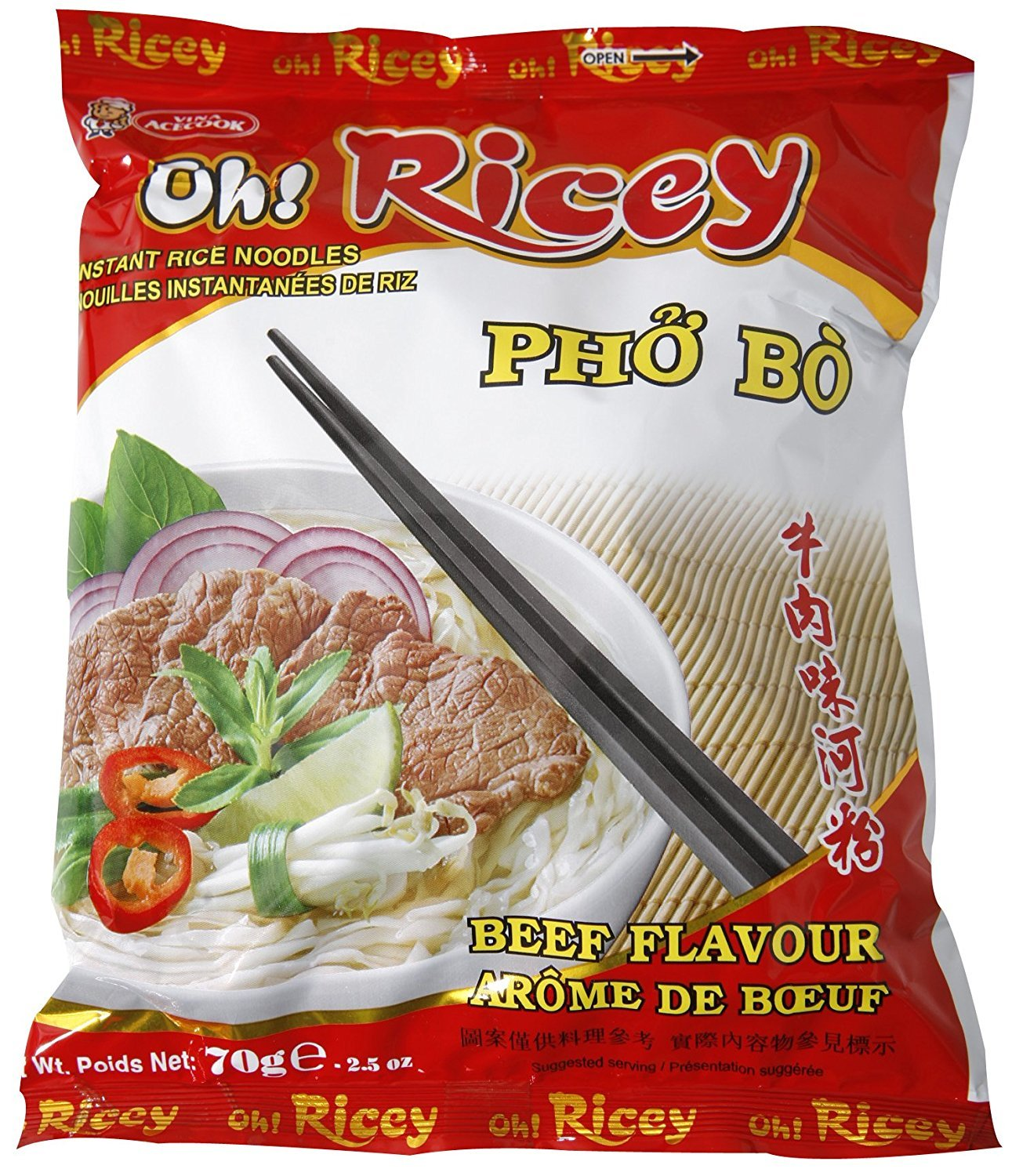 Oh! Ricey Instant Rice Noodle Pho Bo Soup (Beef Flavor) - 2.5 oz (Pack of 5) by Oh! Ricey
