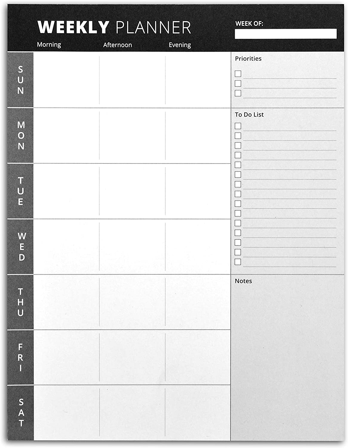 Home Advantage Weekly Planner Pad with Tear Off Sheets and Magnetic Strip (Black, 8.5 inch x 11 inch)