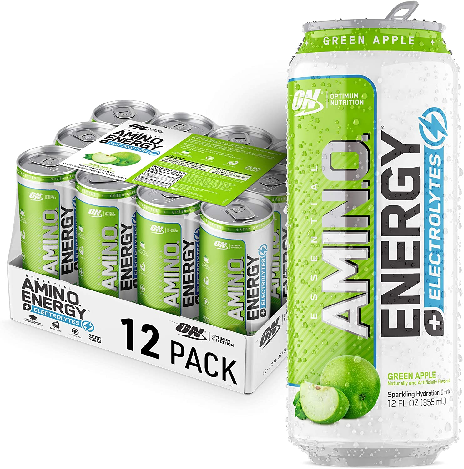 Optimum Nutrition Amino Energy + Electrolytes Sparkling Hydration Drink - Pre Workout, BCAA, Keto Friendly, Energy Powder - Green Apple, 12 Count