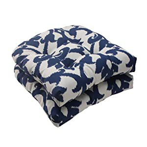 Pillow Perfect Indoor/Outdoor Bosco Wicker Seat Cushion, Navy, Set of 2