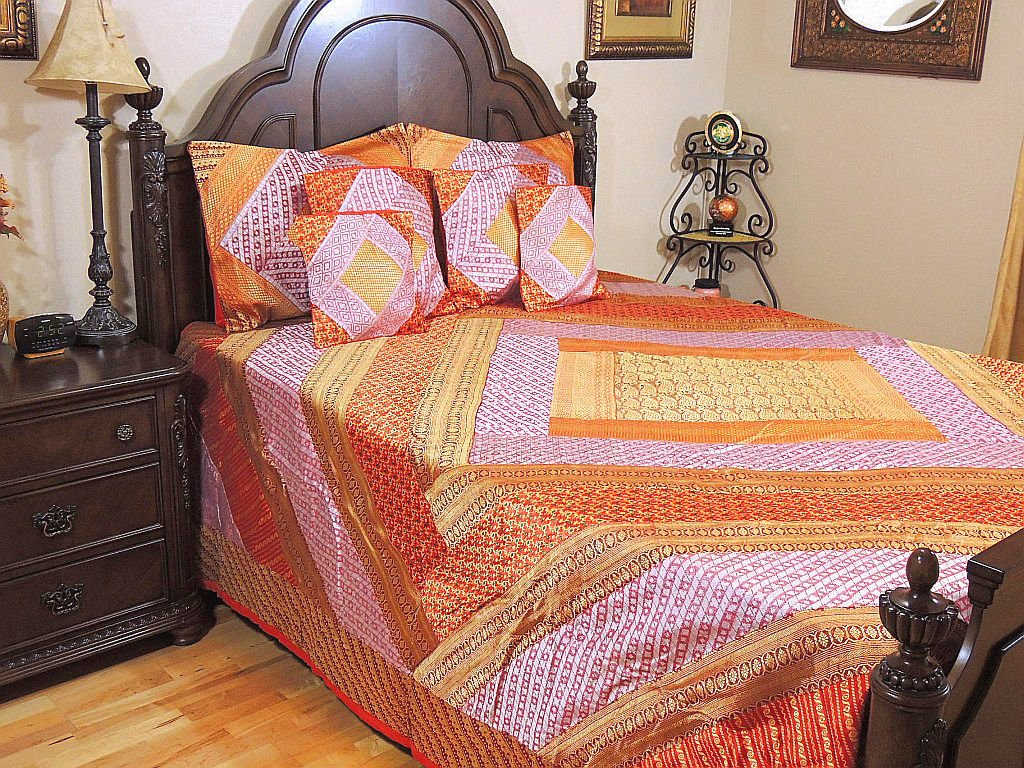 India Inspired Bedding – Zari Patchwork Multicolor Paisley Designer Duvet Set with Pillow Shams Cushion Covers ~ King