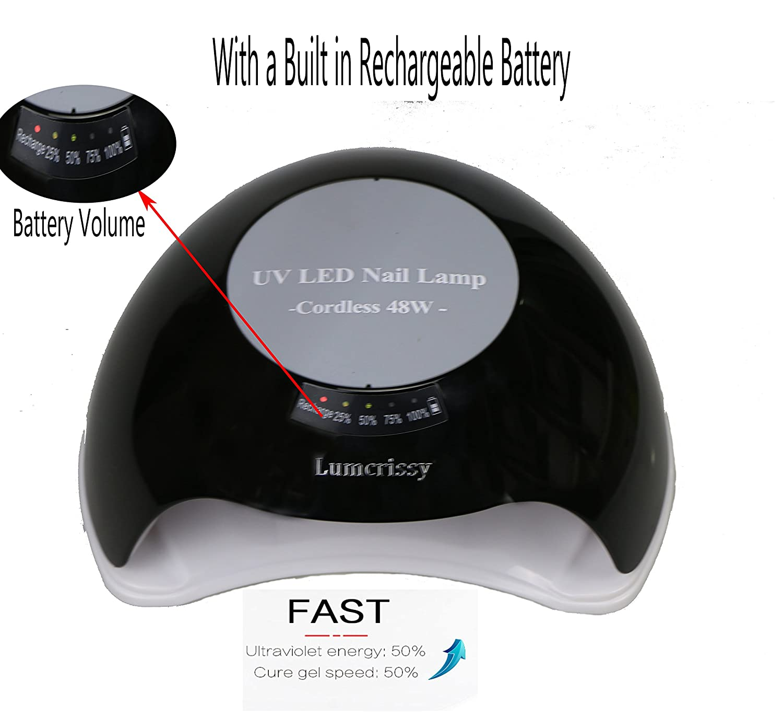 Amazon.com : Wireless Rechargeable Nail Dryer-Lumcrissy 48W Gel ...