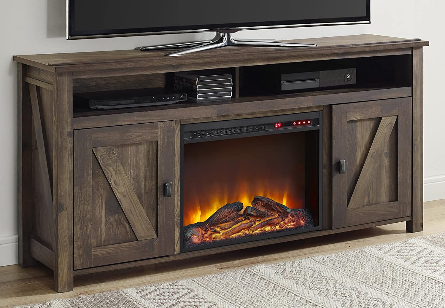 cherry the in depot bsf home electric p decorators fireplace collection stands tv dark stand charleston