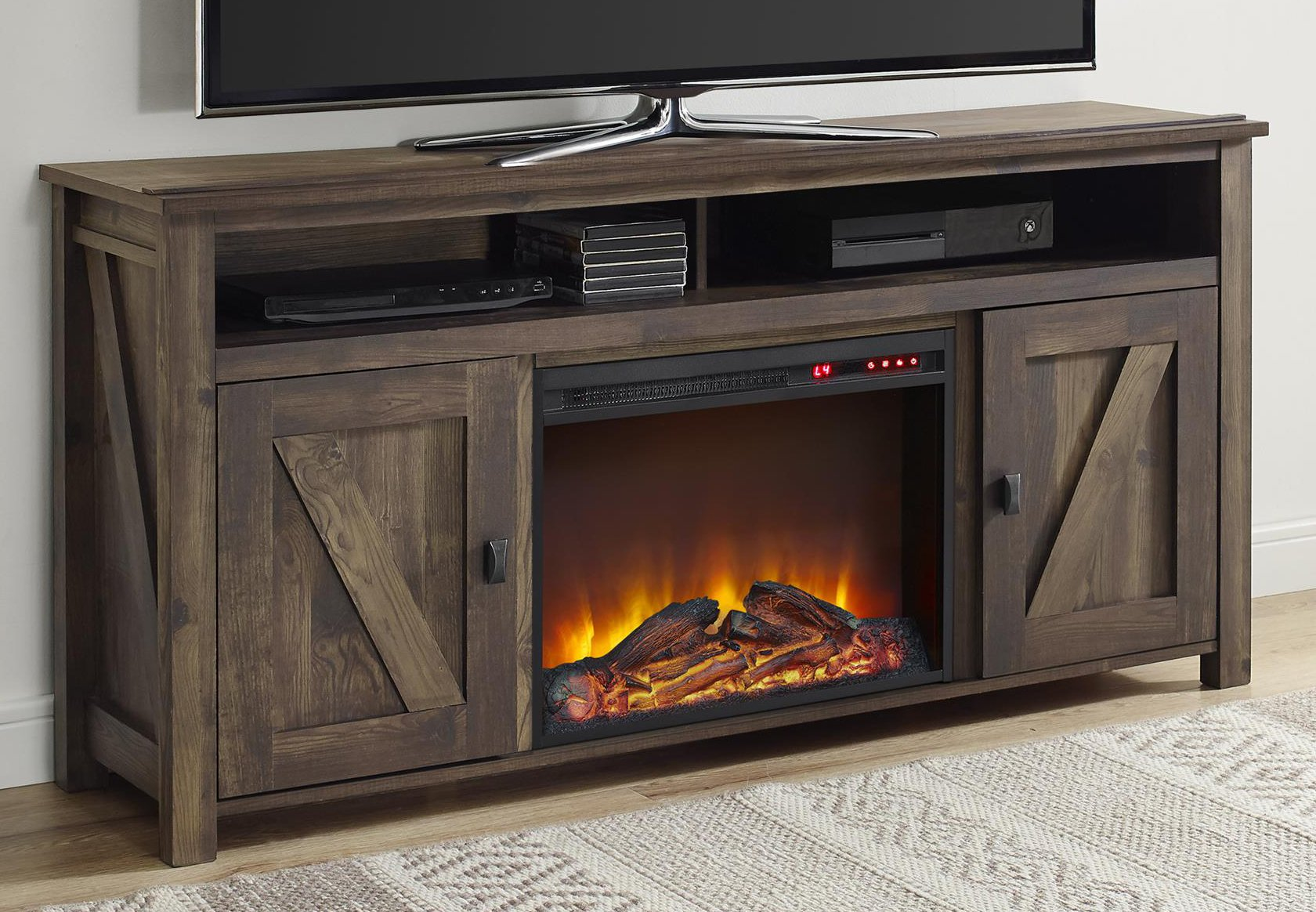 Ameriwood Home Farmington Electric Fireplace TV Console for TVs up to 60'', Rustic
