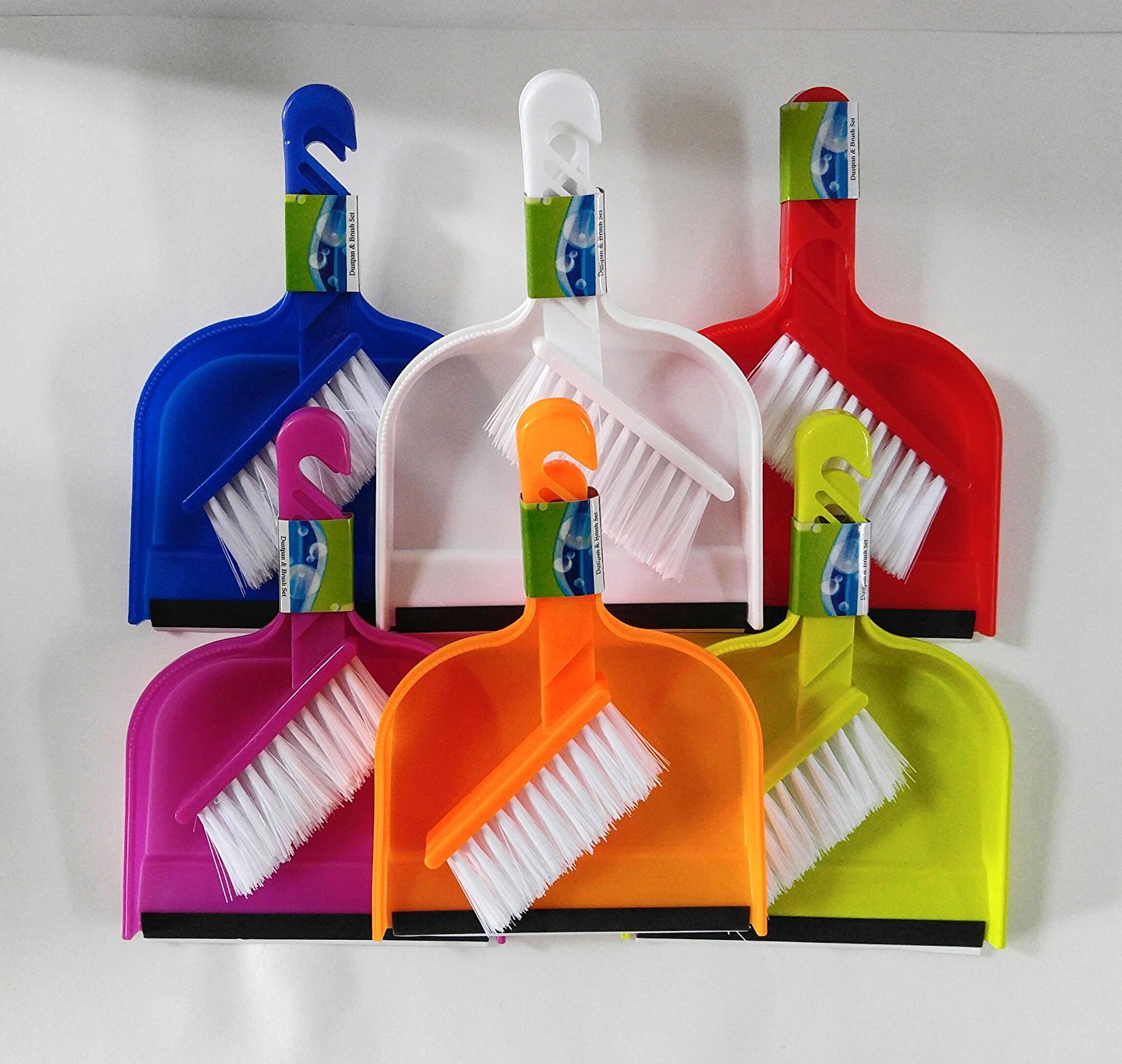 Small Set of Dustpans with Rubber Lip and Brush (Mini) (Assorted, 24) by Regent Products Corp (Image #1)