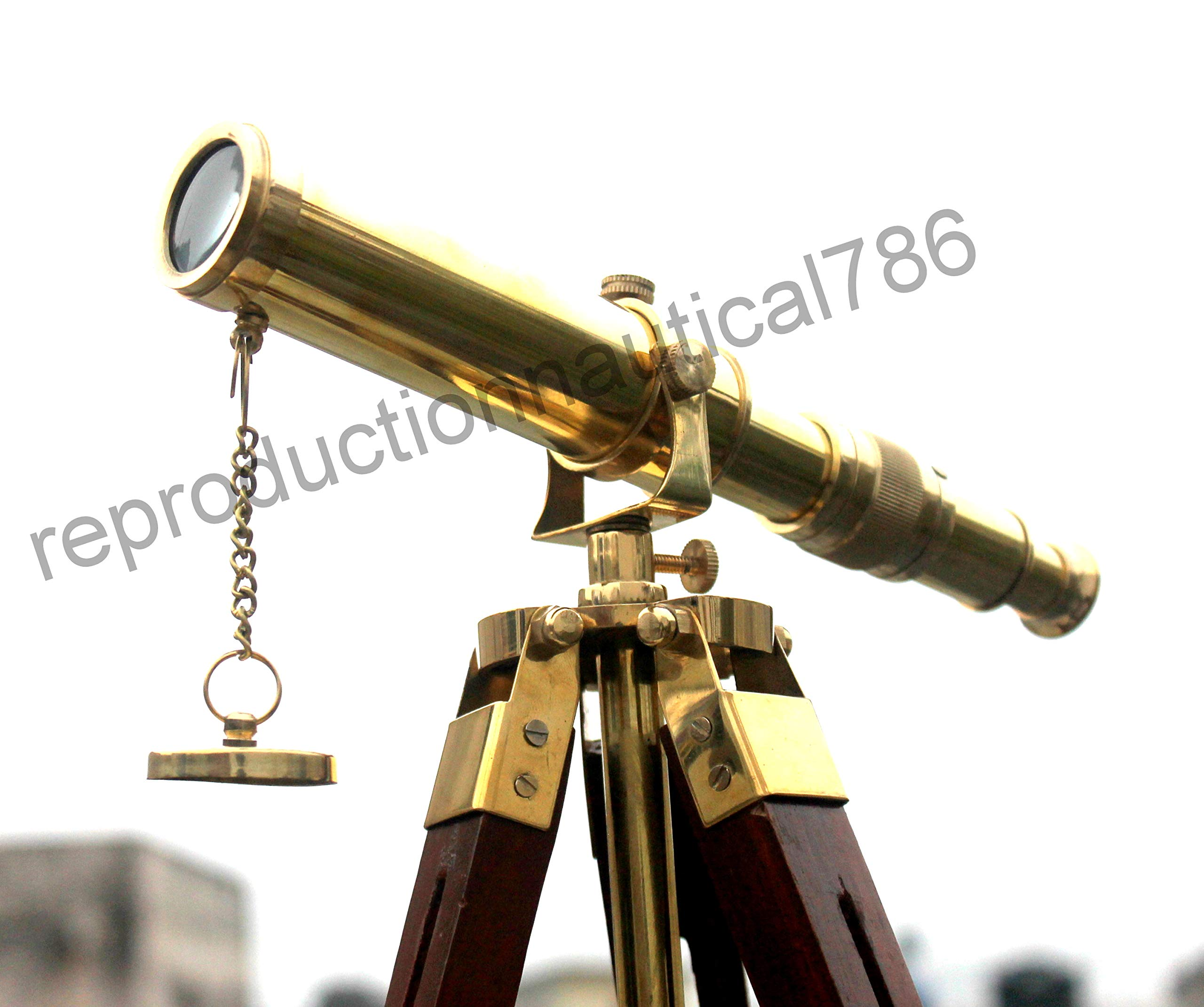 Antique Solid Brass Spy Glass Telescope Handmade Marine Navy Ship Telescope with Wood Tripod Desk Balcony Decorative Vintage Scope Pirate