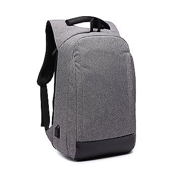 Antirrobo Mochila para Portátil, Impermeable Bolsa Mochilas para Ordenador 15.6 Pulgadas con Puerto de Carga USB Casual Mochila de Trabajo Viajera ...