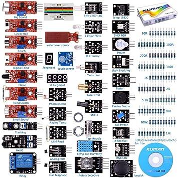 Kuman Para Arduino Kit Para Arduino R3 Raspberry Pi 3 Mega 2560 R3 37 En 1 Módulo Sensor Proyectos Para Arduino Starter Kit K5 Updated Version