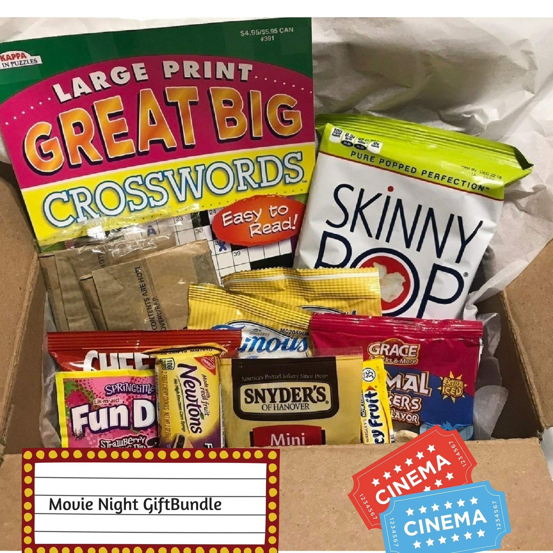 Deluxe Crossword Puzzle Snack Gift Bundle Care Package Gift Box: for Men and Women with Puzzle Books, Fun Snacks, Chips, Cookies, Great for Home Bound, Travelers, Students