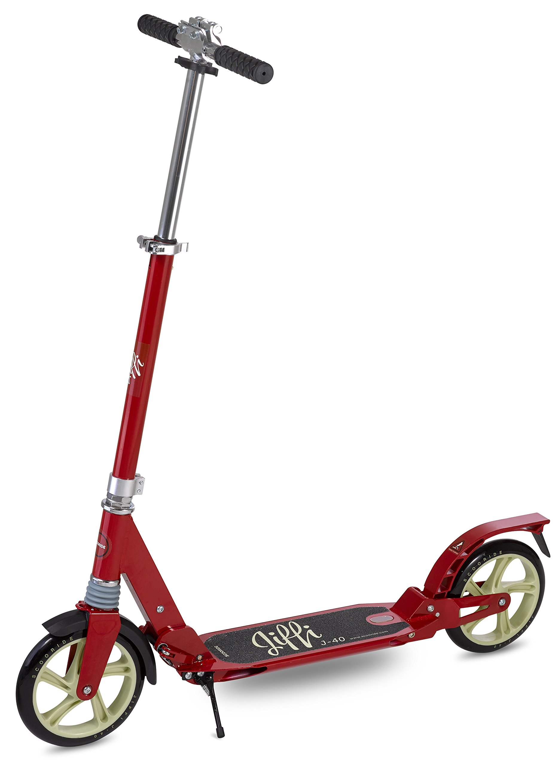 Scooride Jiffi J-40 Premium Folding Adult Kick Scooter, Red