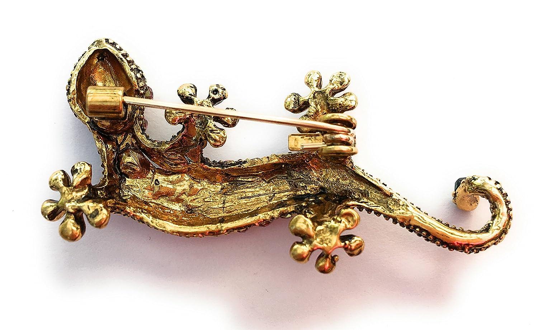 FizzyButton Gifts Elegante Gecko Cham/äleon Echse Strassbrosche Vintage-Stil Abzeichen Pin