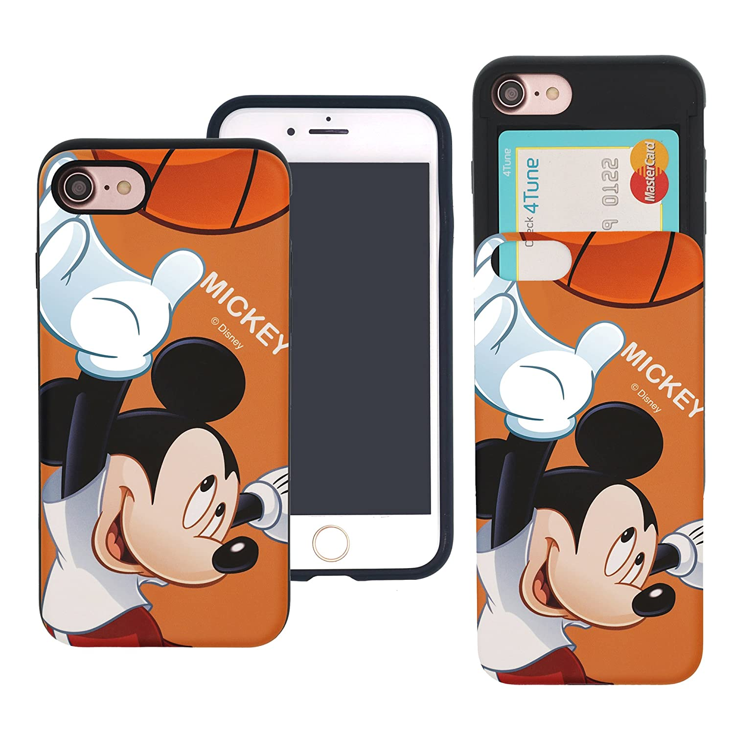 iPhone 6S Plus/iPhone 6 Plus Case Disney Cute Slim Slider Cover : Card Slot Shock Absorption Dual Layer Holder Bumper for [ iPhone6S Plus / iPhone6 Plus ] Case - Riding Mickey Mouse WiLLBee