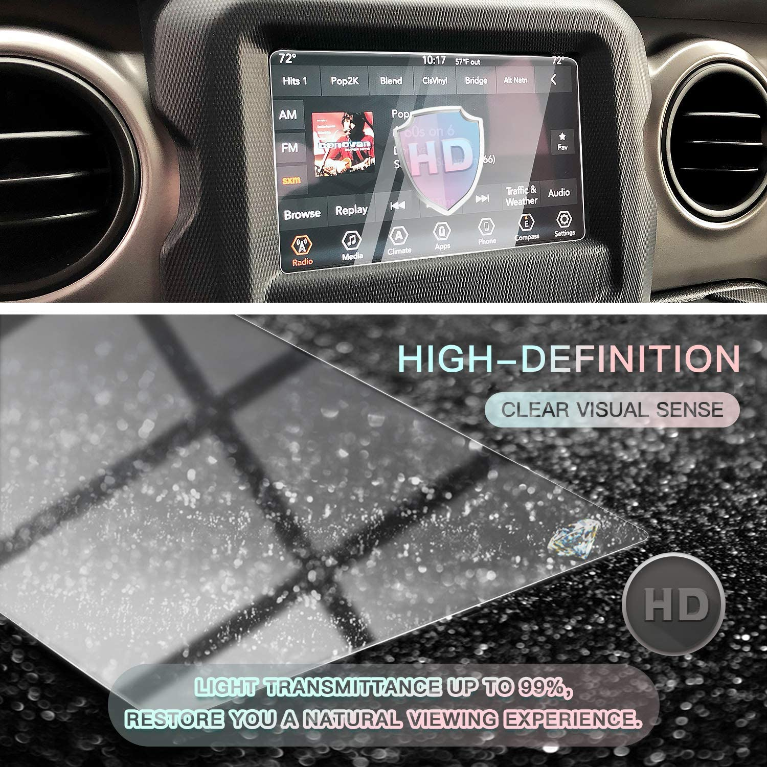 7IN HD Clear Tempered Glass 9H Scratch Resistance CDEFG for 2018 2019 2020 Wrangler JL// 2020 Gladiator JT Center Control Touchscreen Navigation Touch Screen Protector
