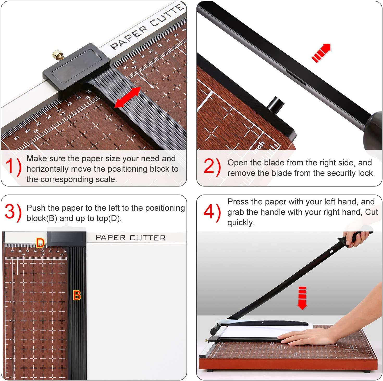 B07QGSDCZD Paper Trimmer, A2-B7 Guillotine Paper Cutter 18 inch Cut Length Photo Guillotine Craft Machine, 12 Sheets Capacity (A3_Red) 719RwV2raEL
