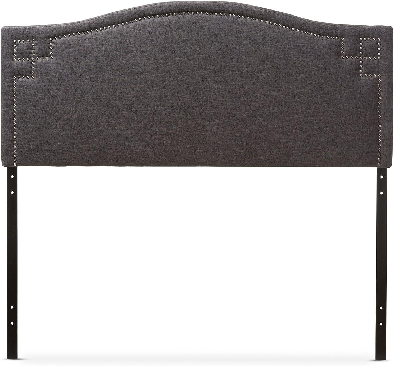 Baxton Studio Gallia Modern Contemporary Fabric Upholstered Headboard, King, Dark Grey