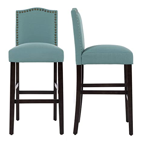 Enjoyable Lssbought Set Of 2 Classic Fabric Barstools Dining High Counter Height Side Chairs Laguna And Seat Height 30 Inches Cjindustries Chair Design For Home Cjindustriesco