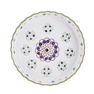 Pfaltzgraff Pink/Green Ceramic Round Pie Plate, 11-Inch