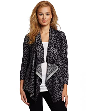 b9c7571ef7f2 Sofie Women's 100% Cashmere Open Front Leopard-Print Sweater, Grey Leopard,  X-Large at Amazon Women's Clothing store: