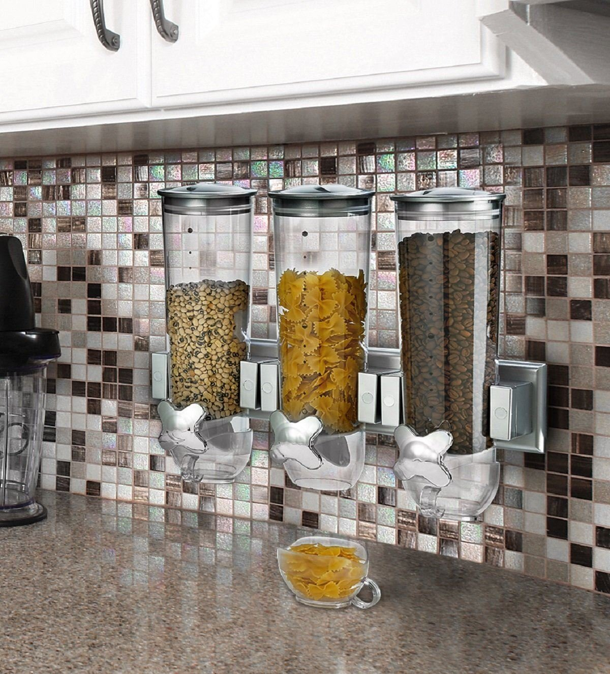 Cereal And Dry Food Dispenser For Cereal Pasta Dry Food Wall Mounter Storage (Triple) Zuvo