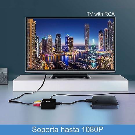 Tiancai HDMI a AV Adaptador 1080P HDMI a AV RCA CVBS Compuesto Video Audio Convertidor Apoyo PAL/NTSC para PC Laptop Wii PS3 PS4 TV STB VHS BLU-Ray DVD: Amazon.es: Electrónica